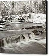 Waterfall With Fresh Snow Thunder Bay Canvas Print by Susan Dykstra