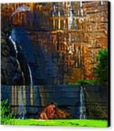 Watson Lake Waterfall Canvas Print by Julie Lueders
