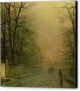Where The Pale Moonbeams Linger  Canvas Print by John Atkinson Grimshaw