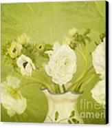 White Anemonies And Ranunculus On Green Canvas Print