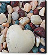 White Heart Stone Canvas Print by Garry Gay