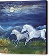 White Horses In Moonlight Canvas Print by Maureen Ida Farley
