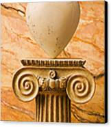 White Stone Heart On Pedestal Canvas Print by Garry Gay