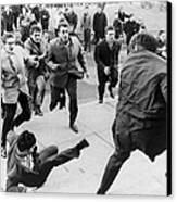 White Students Running Toward An Canvas Print by Everett