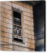 Window In Old House Stormy Sky Canvas Print
