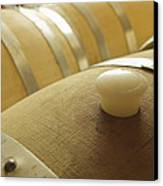 Wine Barrel Detail In Cellar At Winery Canvas Print by James Forte