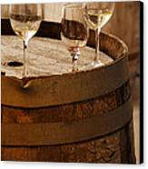 Wine Glasses On An Old Wine Barrel  Canvas Print by Michael Gray
