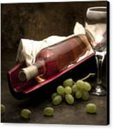Wine With Grapes And Glass Still Life Canvas Print