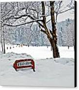 Winter Beach Sign Canvas Print by Aimee L Maher Photography and Art Visit ALMGallerydotcom