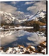 Winter Dawn Reflection Of Mount Canvas Print by Colin Monteath