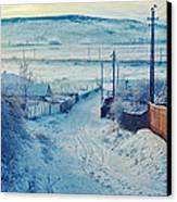 Winter In Romanian Countryside Canvas Print by Gabriela Insuratelu