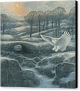 Winter Landscape With Owl Canvas Print by Marte Thompson