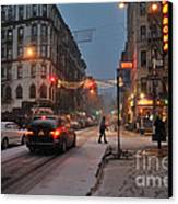 Winter Night On Mulberry Street Canvas Print by Ed Rooney