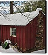 Winter Shed Canvas Print by Susan Leggett