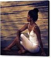 Woman At A Lake Canvas Print by Joana Kruse