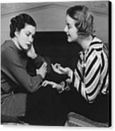 Woman Consoling Friend At Fireplace, (b&w) Canvas Print