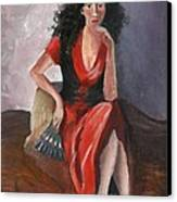Woman In Red - Inspired By Pino Canvas Print by Kostas Koutsoukanidis