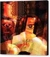 Woman Spirit At The Door  Canvas Print by Fania Simon