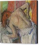 Woman Washing Her Back Canvas Print by Edgar Degas