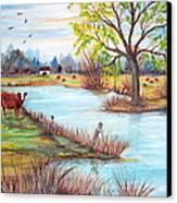 Wonderful Farm Home Canvas Print by Janna Columbus