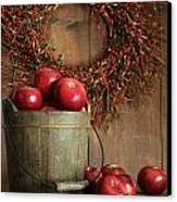 Wood Bucket Of Apples For The Holidays Canvas Print