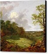 Wooded Landscape With A Cottage - Sheep And A Reclining Shepherd Canvas Print