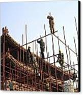 Workers Climb Scaffolding On The Palace Canvas Print