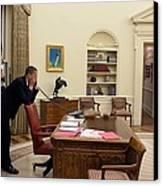 Working Late President Barack Obama Canvas Print by Everett