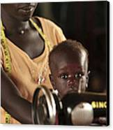 Working Mother And Child, Uganda Canvas Print by Mauro Fermariello