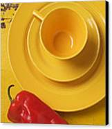 Yellow Cup And Plate Canvas Print by Garry Gay