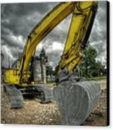 Yellow Excavator Canvas Print