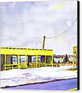 Yellow Farm Stand Winter Orient Harbor Ny Canvas Print by Susan Herbst