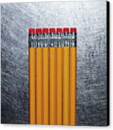 Yellow Pencils With Erasers On Stainless Steel. Canvas Print