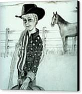 Young Cowboy Canvas Print by Carolyn Ardolino