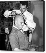 Yul Brynner Getting Shaved By Makeup Canvas Print by Everett