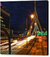 Zakim Bridge At Night Canvas Print by Joann Vitali