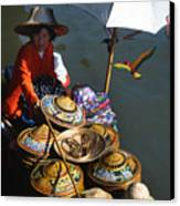 Boat Woman In Thailand Canvas Print