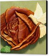 Dove On A Rose Canvas Print