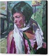 Girl With White Shawl Canvas Print
