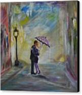 Kiss Me Taxi Is Here Canvas Print by Leslie Allen