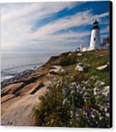 Lighthouse With Wildflowers Canvas Print