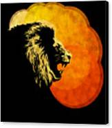 Lion Illustration Print Silhouette Print Night Predator Canvas Print by Sassan Filsoof