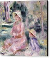 Madame Renoir And Her Son Pierre Canvas Print by Pierre Auguste Renoir