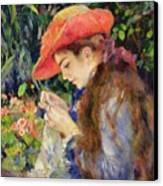 Marie Therese Durand Ruel Sewing Canvas Print by Pierre Auguste Renoir