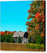 Old Barn In Fall Color Canvas Print