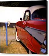 Red Chevy At The Drive-in Canvas Print by Robert Ponzoni