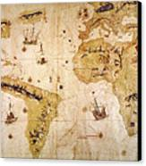 Vespucci's World Map, 1526 Canvas Print