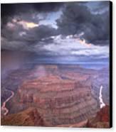 A Monsoon Storm In The Grand Canyon Canvas Print by David Edwards