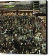 An Elevated View Of Traders Canvas Print by Michael S. Lewis
