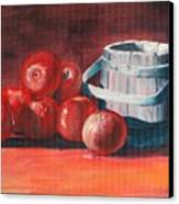 Apples - N - Wodden Basket Canvas Print